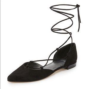 $398 NEW Stuart Weitzman Gilligan Suede Tie Flats